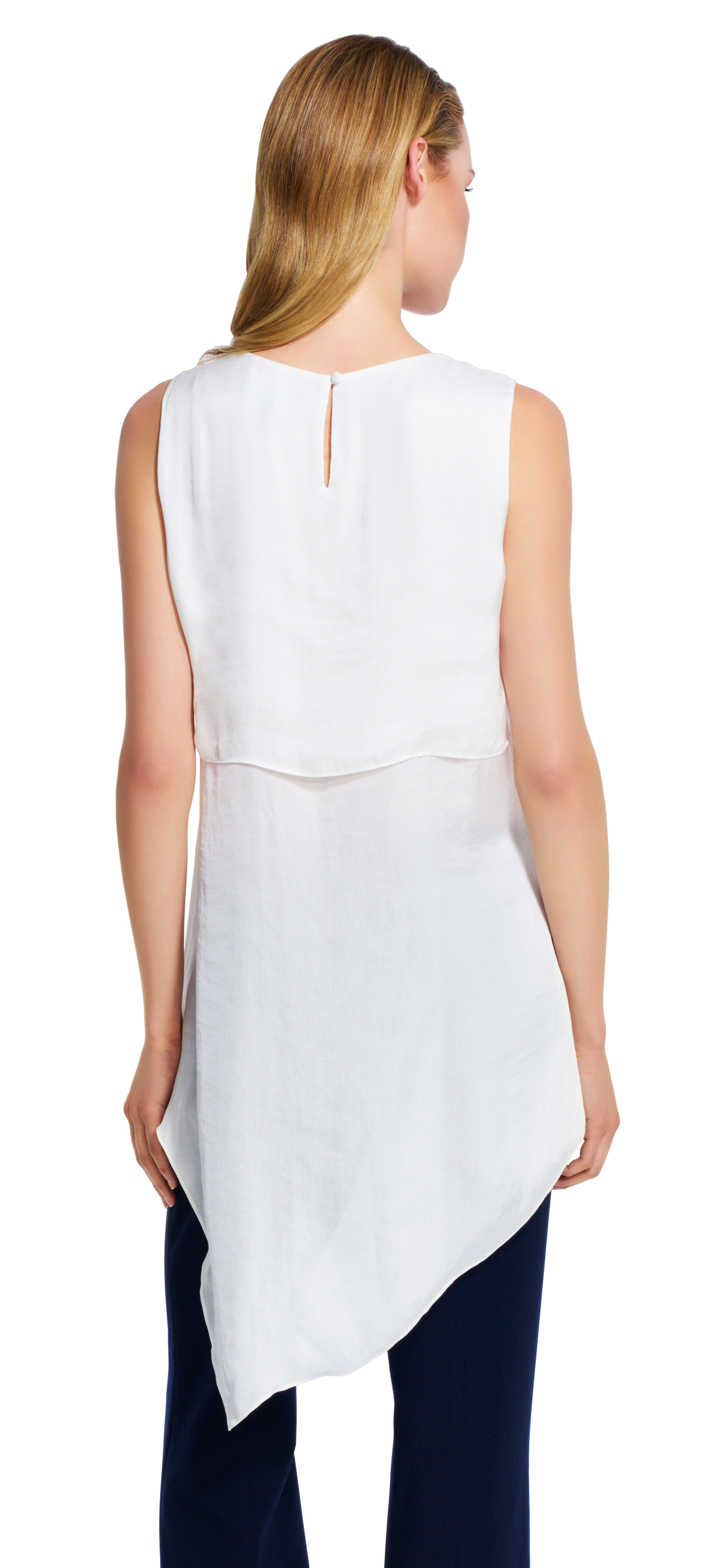 Adrianna papell Asymmetrical Hem Tank Top in White | Lyst