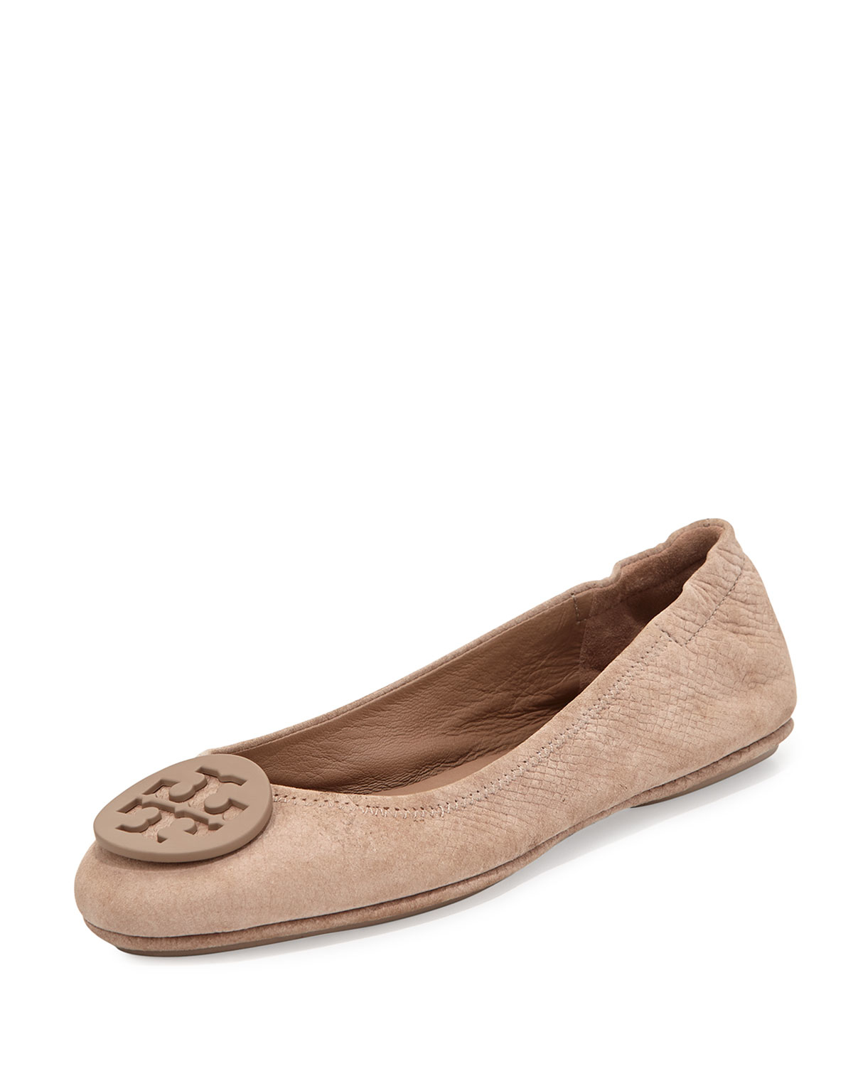 Tory Burch Travel Logo Ballet Flat In Brown Taupe  Lyst
