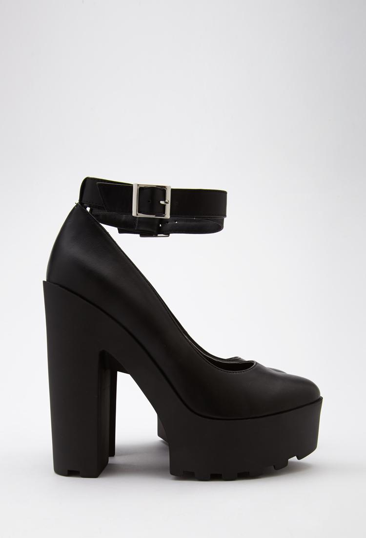 7348e25b87 Forever 21 Lug Sole Ankle Strap Platform Heels in Black - Lyst