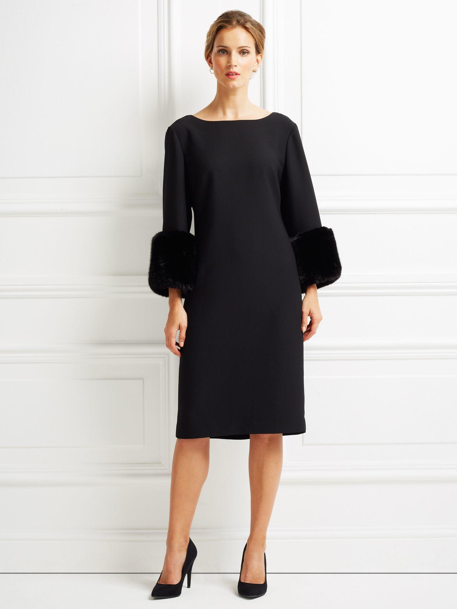 Jacques Vert Faux Fur Cuff Shift Dress In Black Lyst
