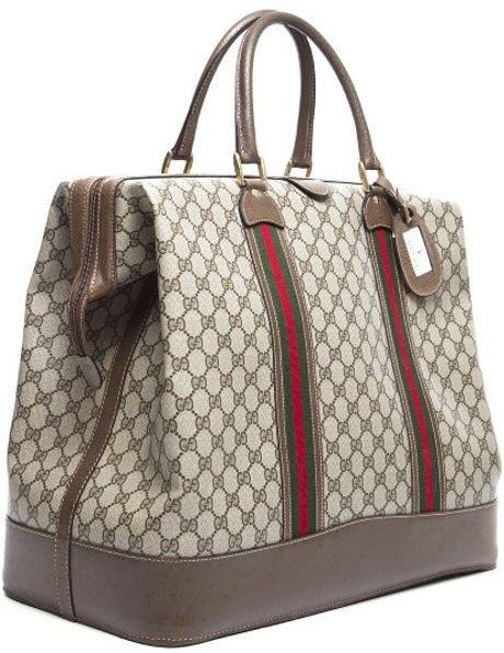 Gucci Preowned Beige Gg Canvas Webbed Vintage Large Travel Bag In Beige Lyst