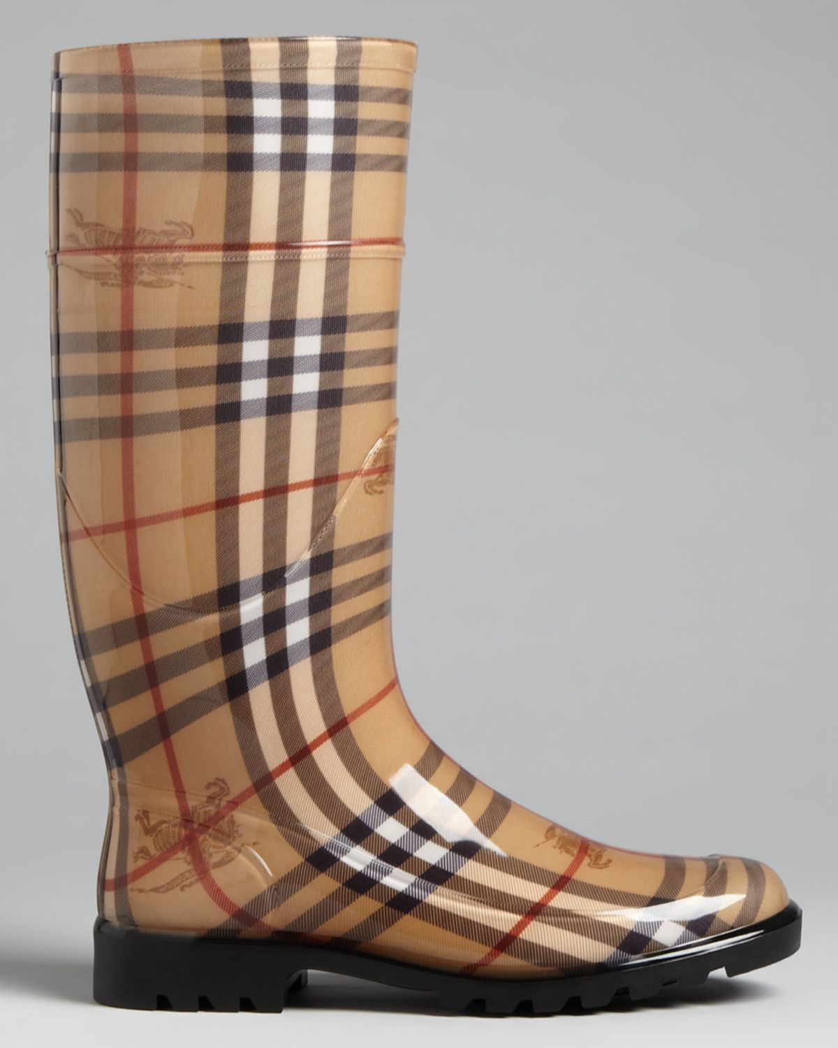 Burberry Rain Boots Haymarket Check Plaid In Natural Lyst
