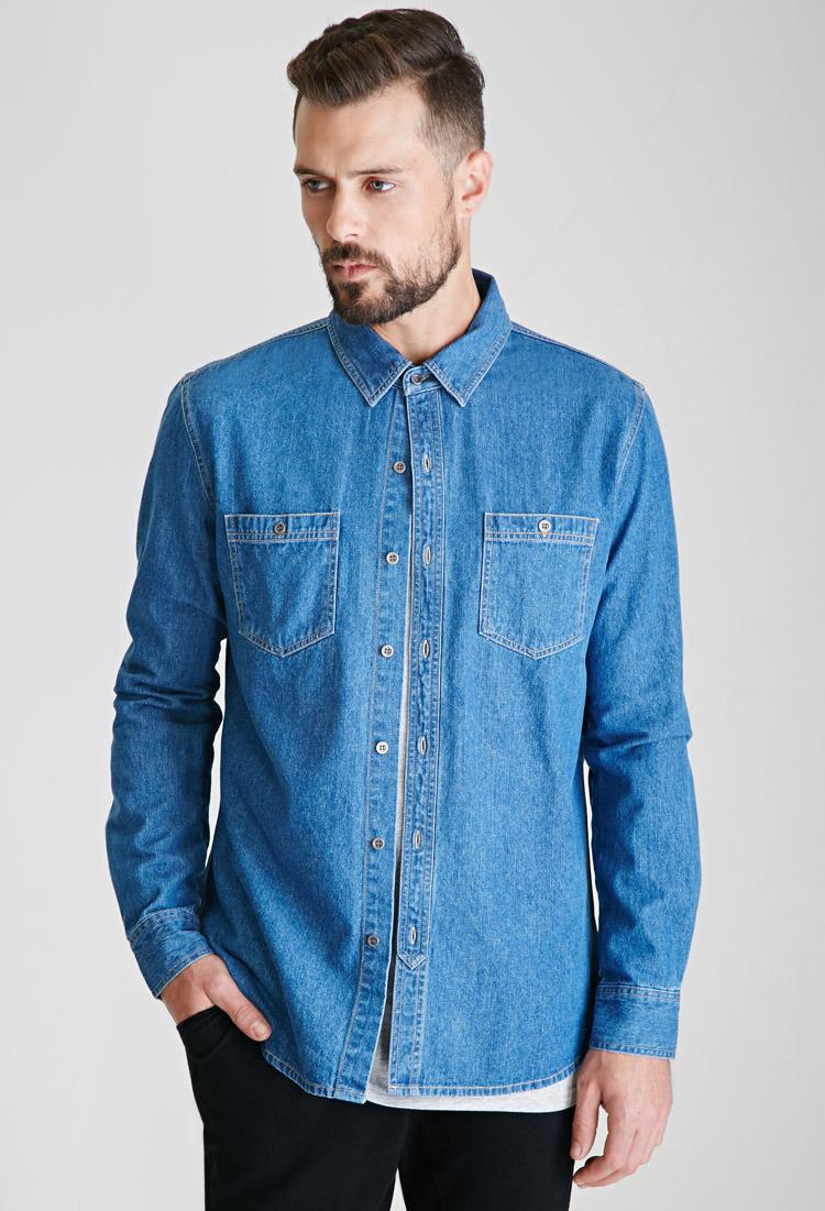 21men denim button down shirt in blue for men indigo lyst for Jean button up shirt mens