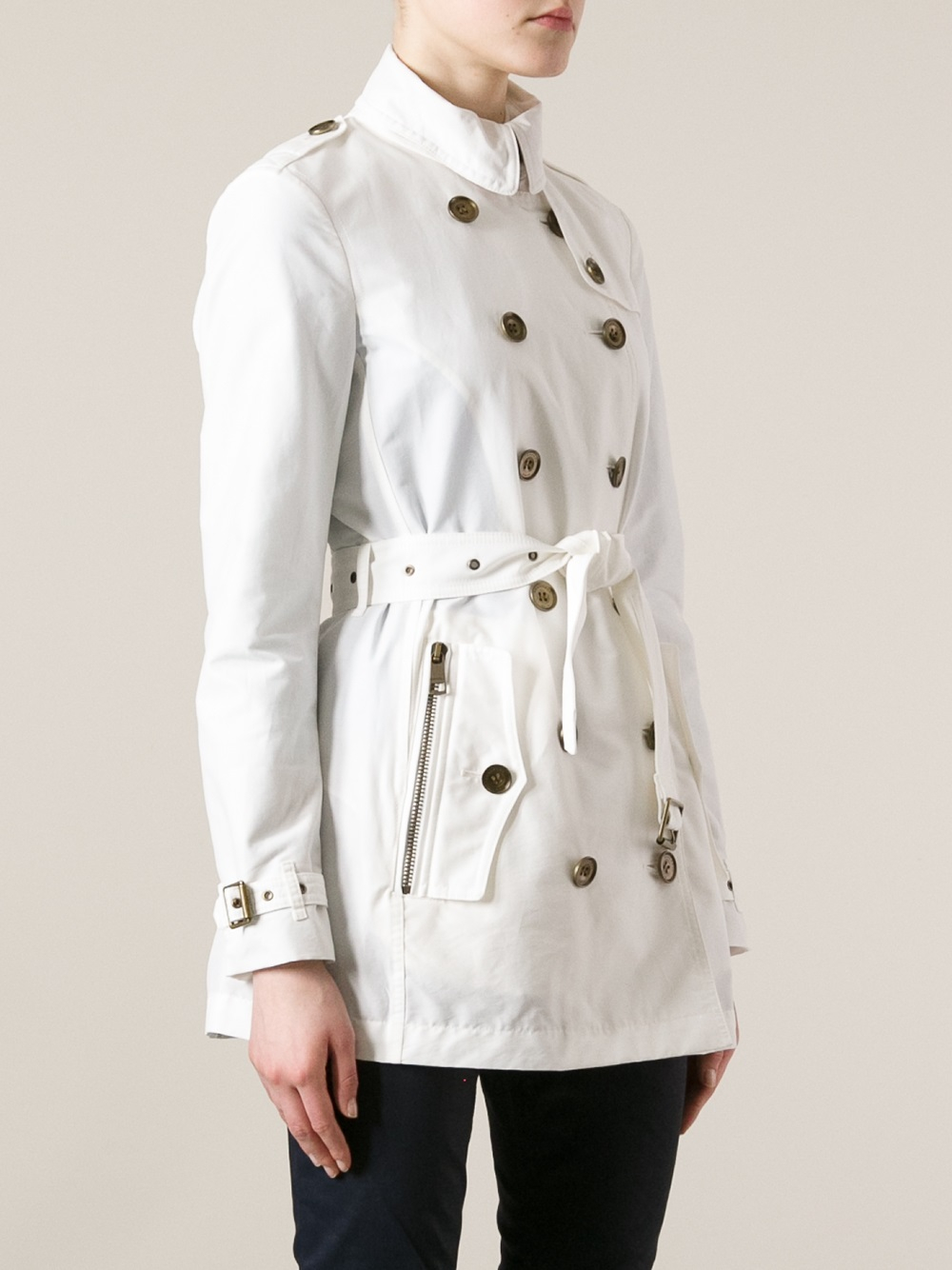 burberry brit brookesby trench coat in white lyst. Black Bedroom Furniture Sets. Home Design Ideas