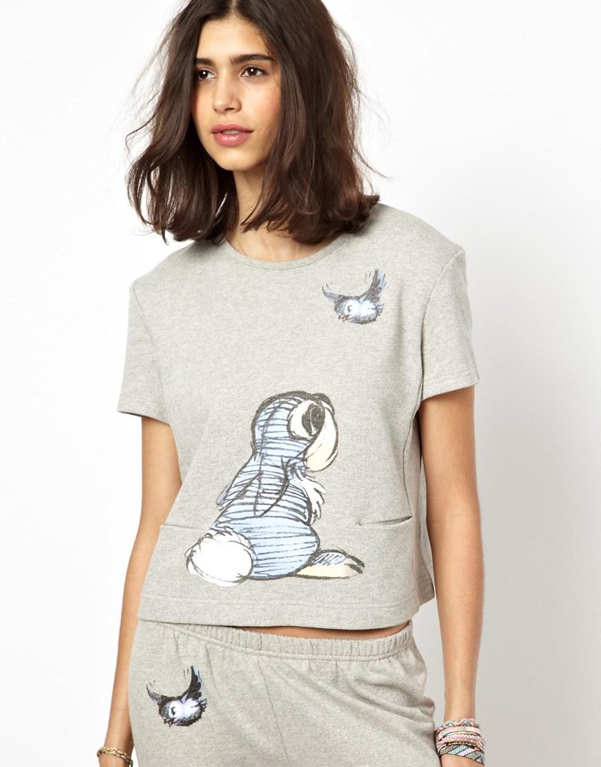 lyst paul joe paul joe sister x disney sweatshirt with thumper print in gray. Black Bedroom Furniture Sets. Home Design Ideas