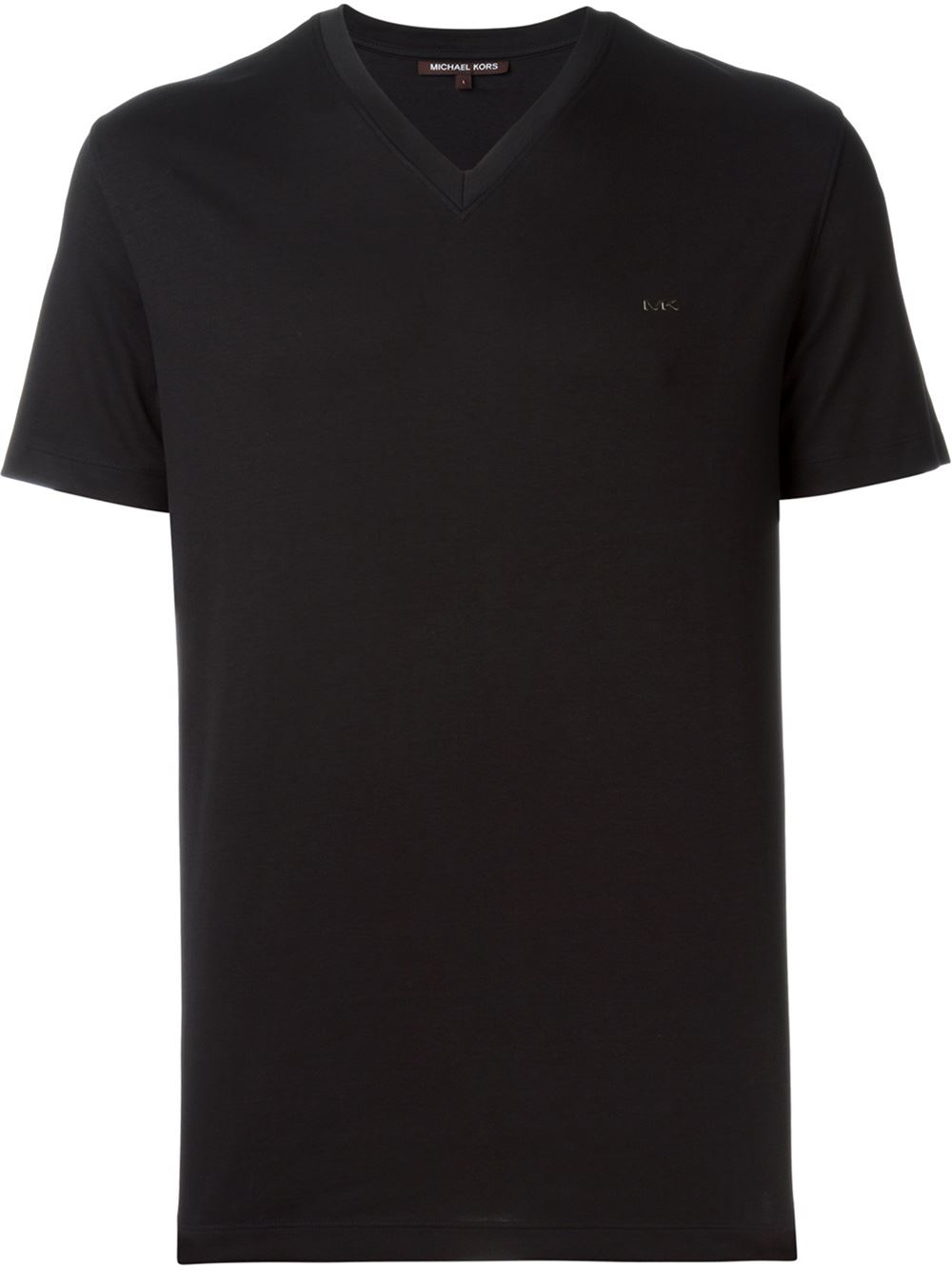 Michael kors v neck t shirt in black for men lyst V neck black t shirt
