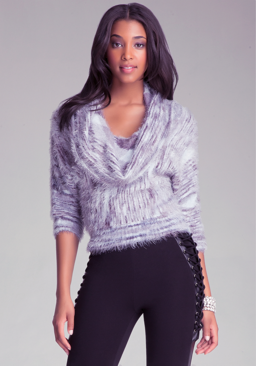 Bebe Space Dye Cowl Neck Sweater in Metallic | Lyst