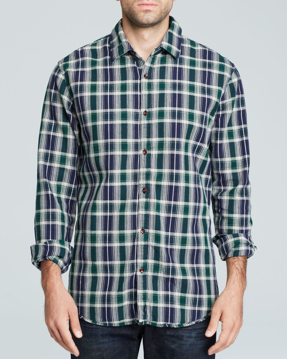 Scotch Soda Plaid Button Down Shirt Slim Fit In Green