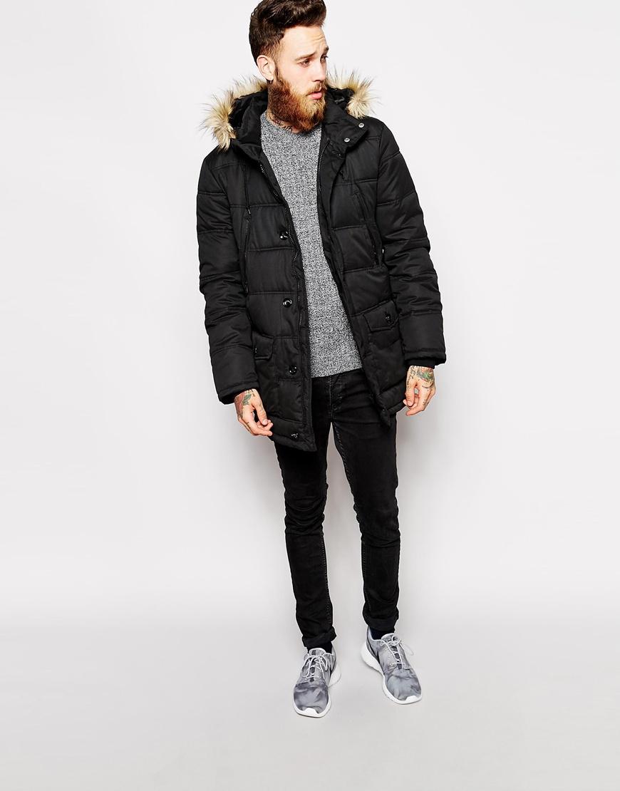 Asos Quilted Parka Jacket in Black for Men | Lyst