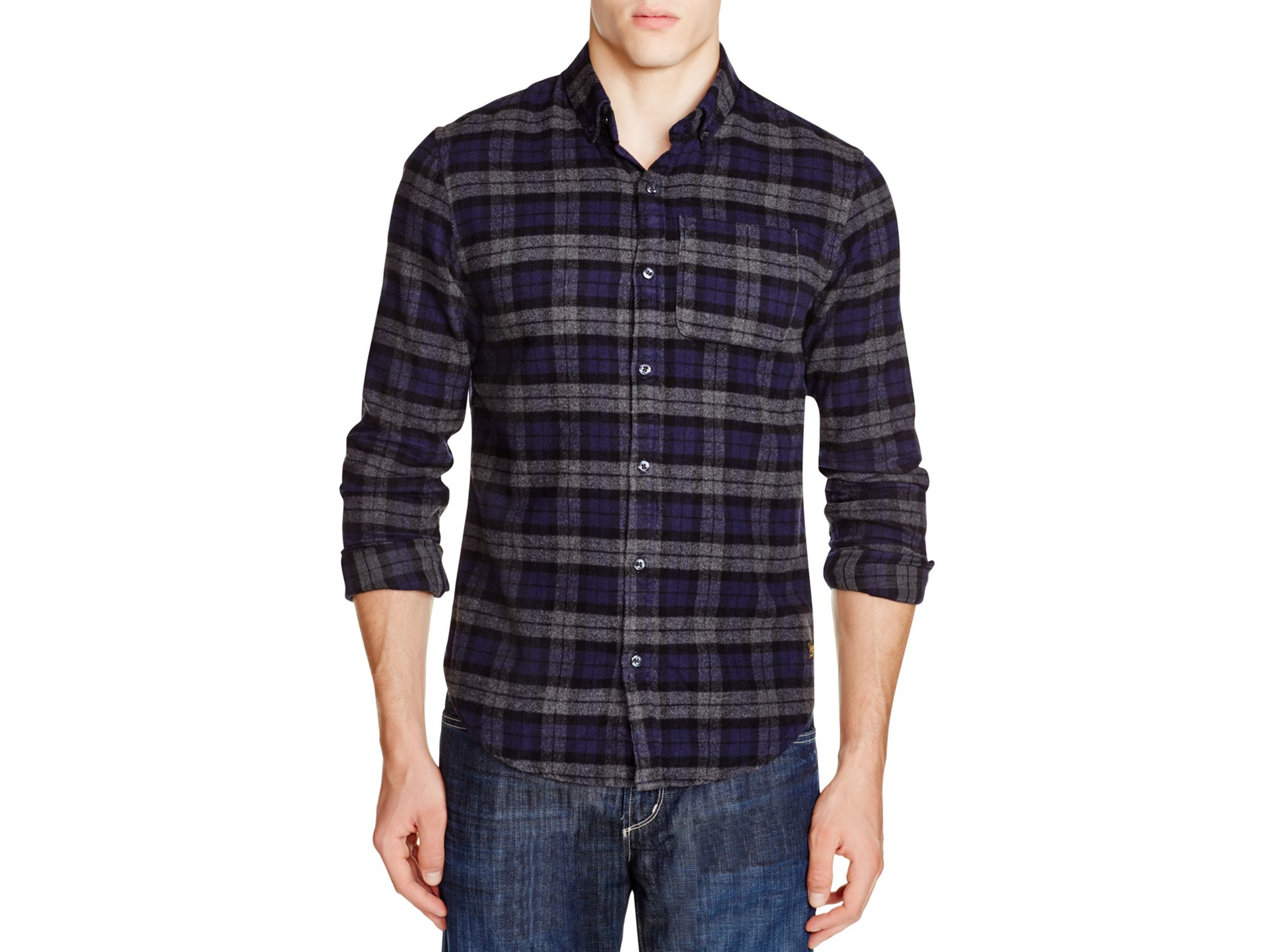 Scotch soda plaid flannel slim fit button down shirt in for Mens slim fit flannel shirt
