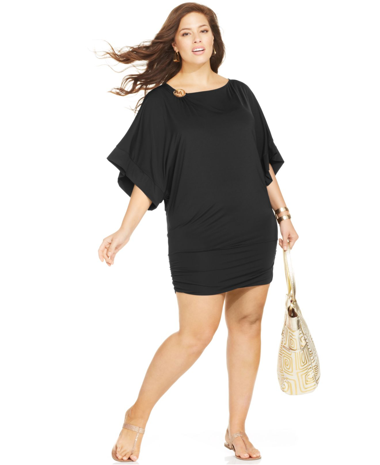 Michael kors Michael Plus Size Logo Banded Cover Up in Black | Lyst