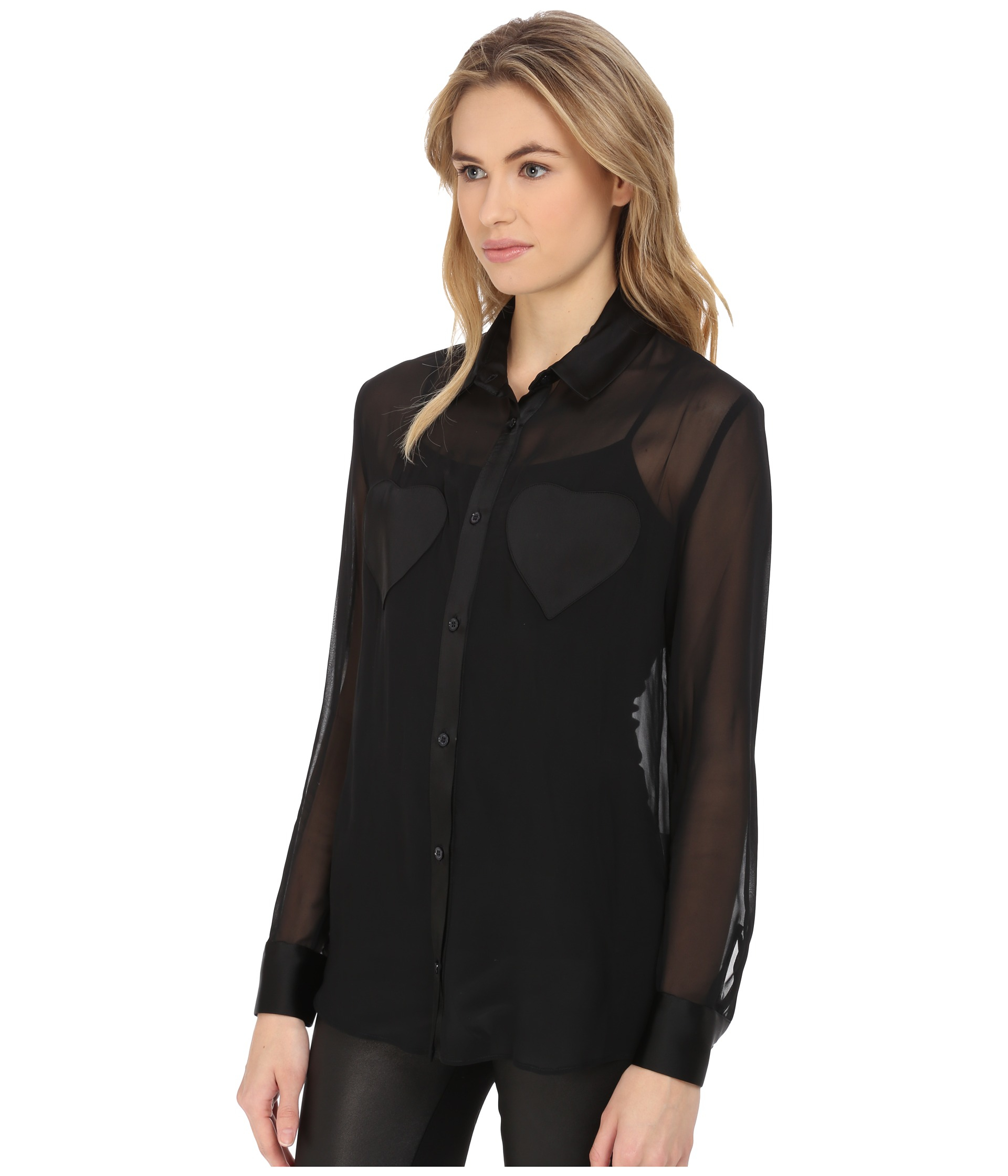 Long Sleeve Button Down Blouse - Womens Tops - Long Sleeve