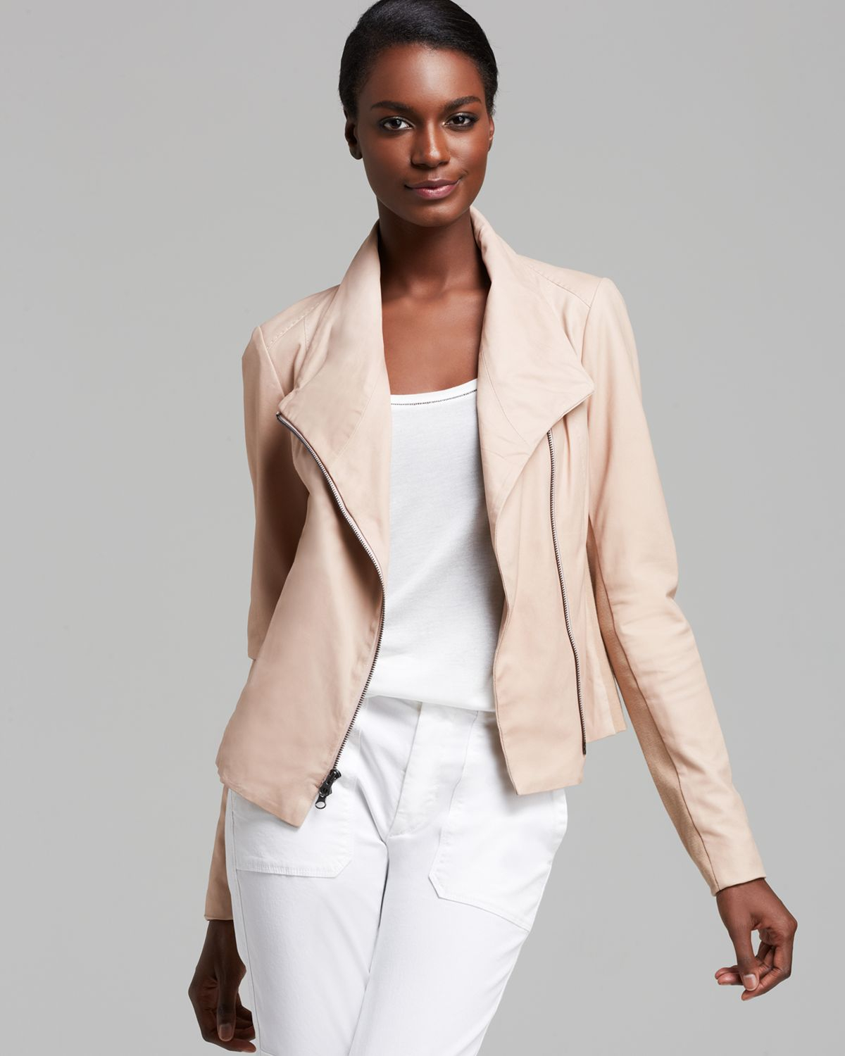 Vince Jacket Paper Leather Scuba In Pale Blush Pink Lyst