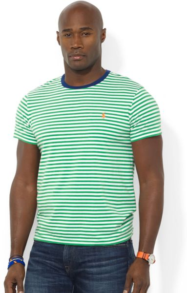 Ralph Lauren Polo Big And Tall Striped Tshirt In Green For