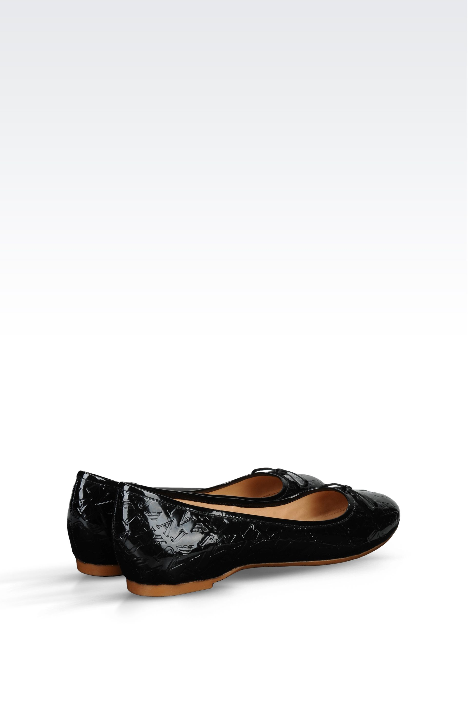 Armani Jeans Patent Ballet Flat With Logo Design In Black
