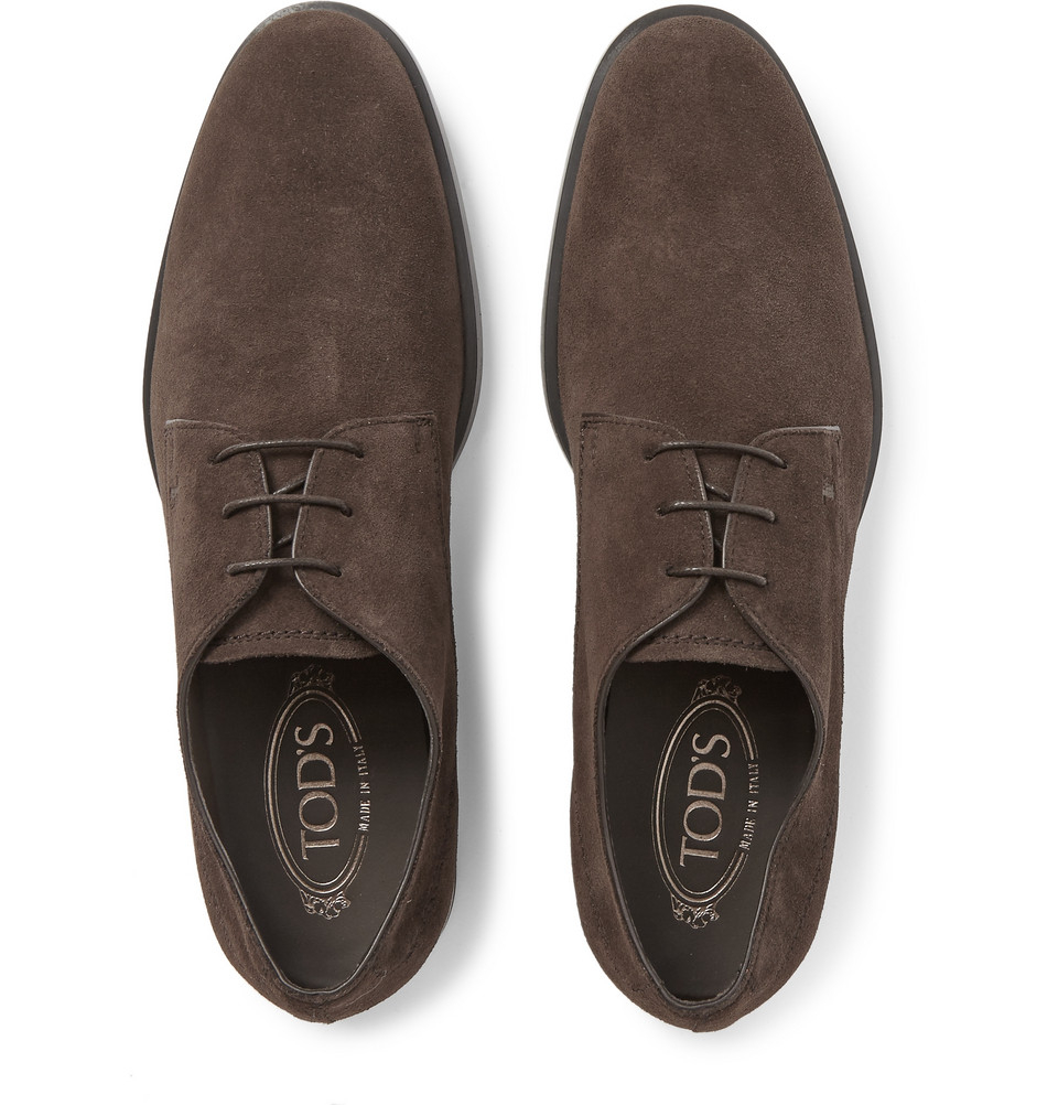 Lyst Tod S Suede Derby Shoes In Brown For Men