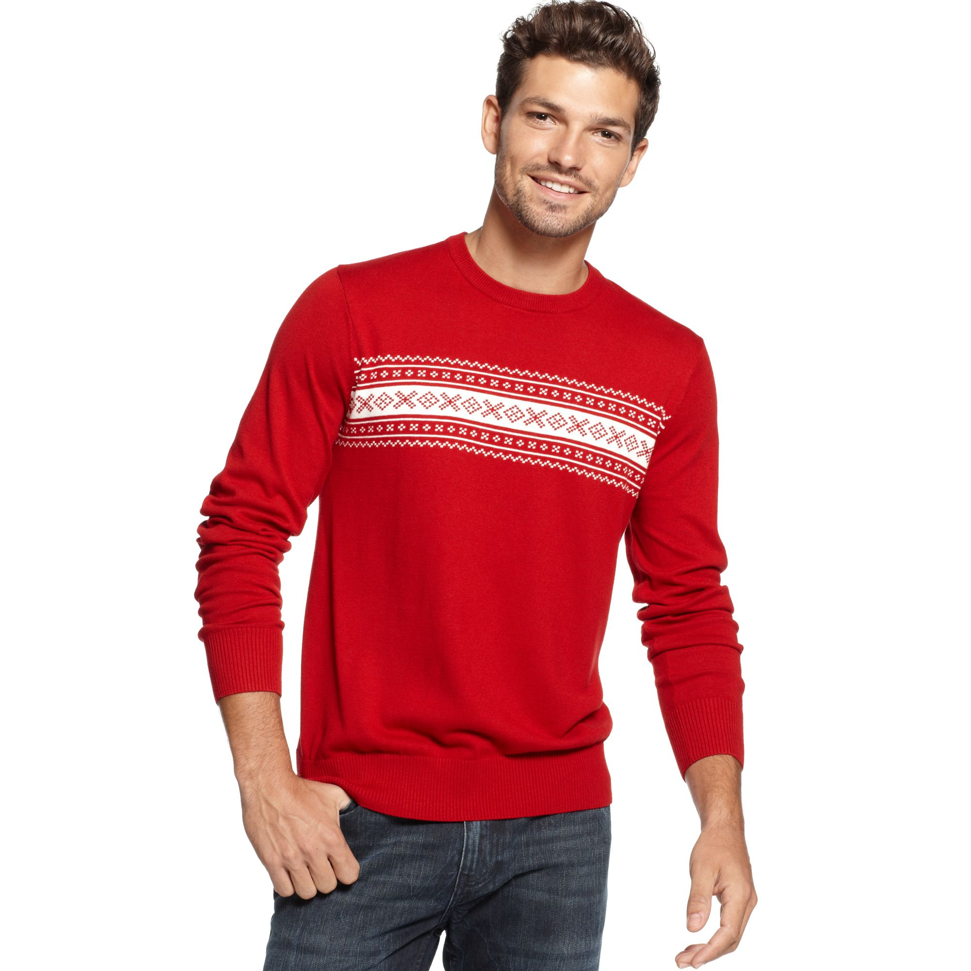 Tommy hilfiger American Fair Isle Sweater in Red for Men | Lyst