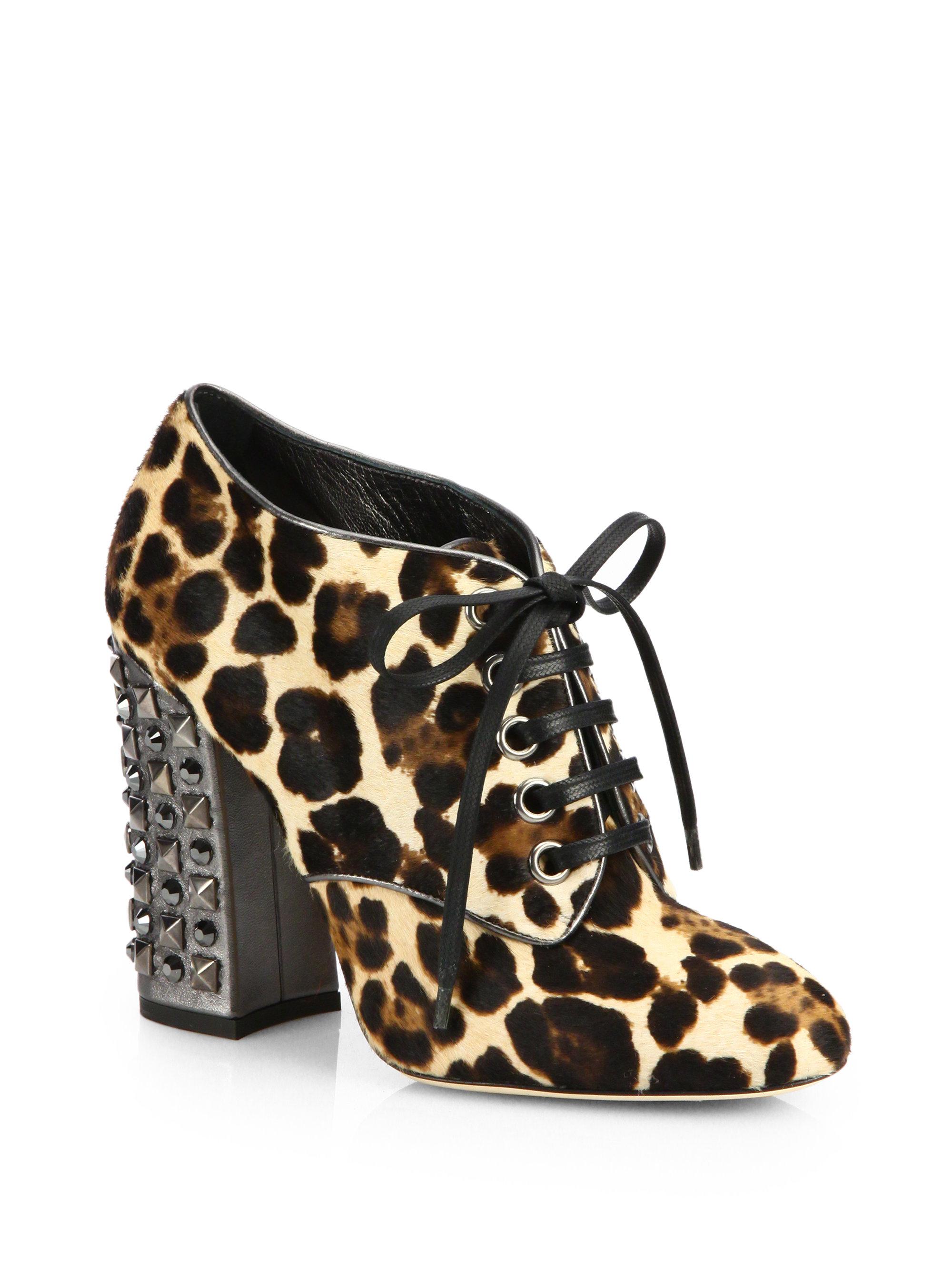 88f273c071b Dolce & Gabbana Leopard-Print Calf Hair Booties - Lyst