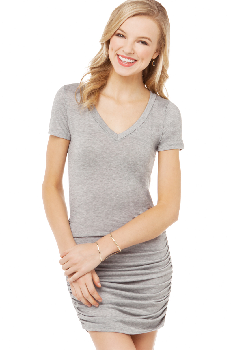 a5f022d2348 Lyst - AKIRA Ruched Side Tshirt Dress in Gray