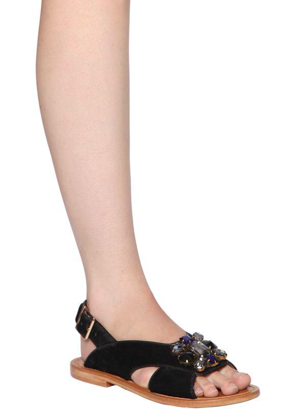 1006d3611 Lyst - Marni 10mm Jeweled Ponyskin Sandals in Black