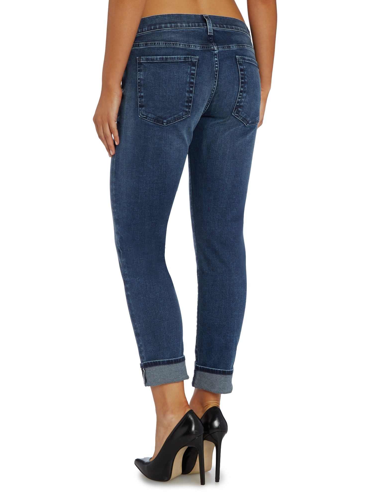 7 for all mankind relaxed skinny aged jean in denim mid blue in blue denim mid wash lyst. Black Bedroom Furniture Sets. Home Design Ideas