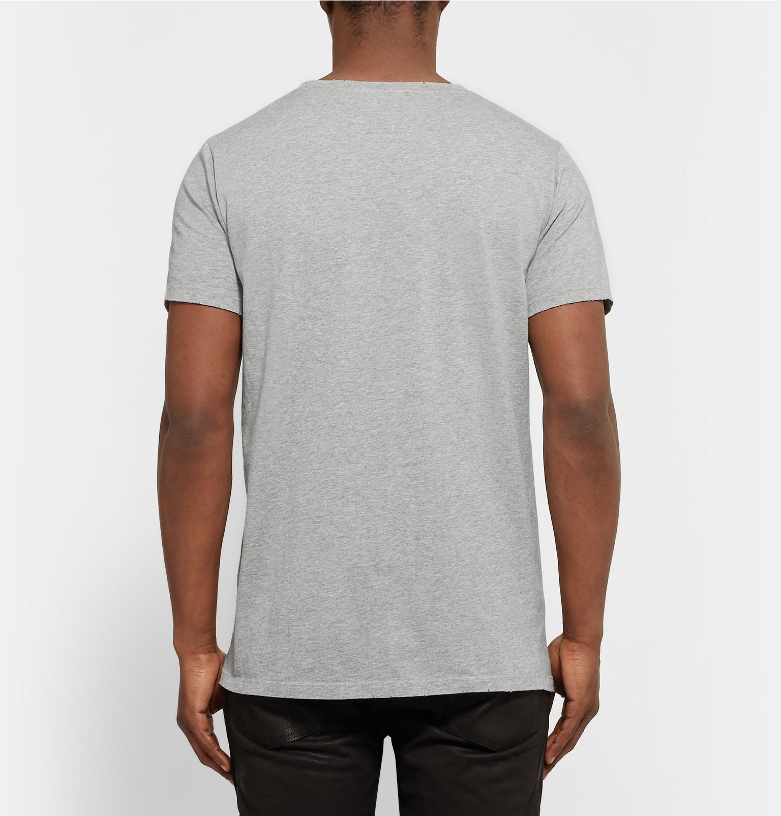 869d86d0f37 Balmain Three-pack Slim-fit Distressed Cotton-jersey T-shirts in ...