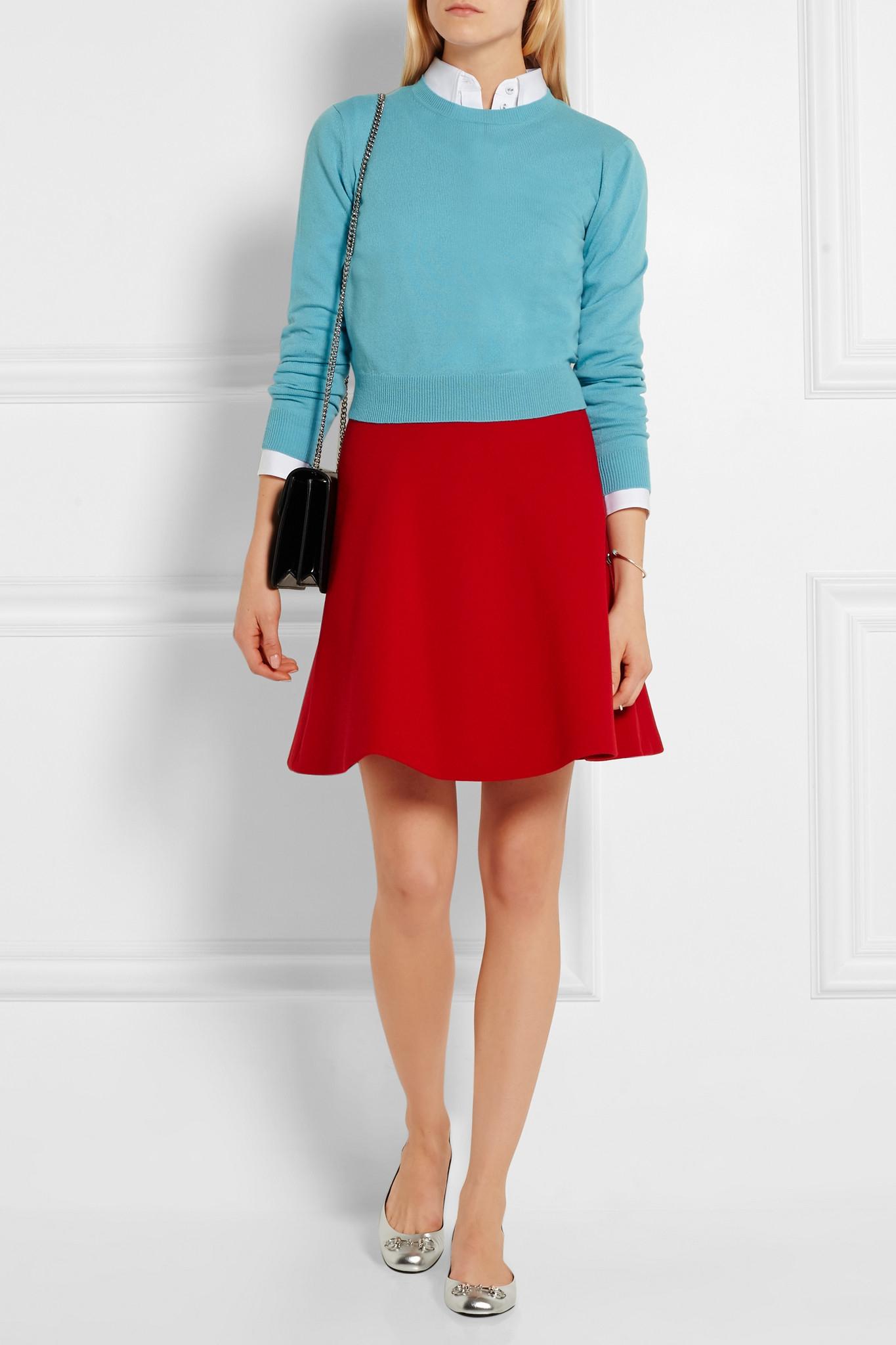 Lyst - Miu Miu - Wool-crepe Mini Skirt - Red in Red 344ace9befedf