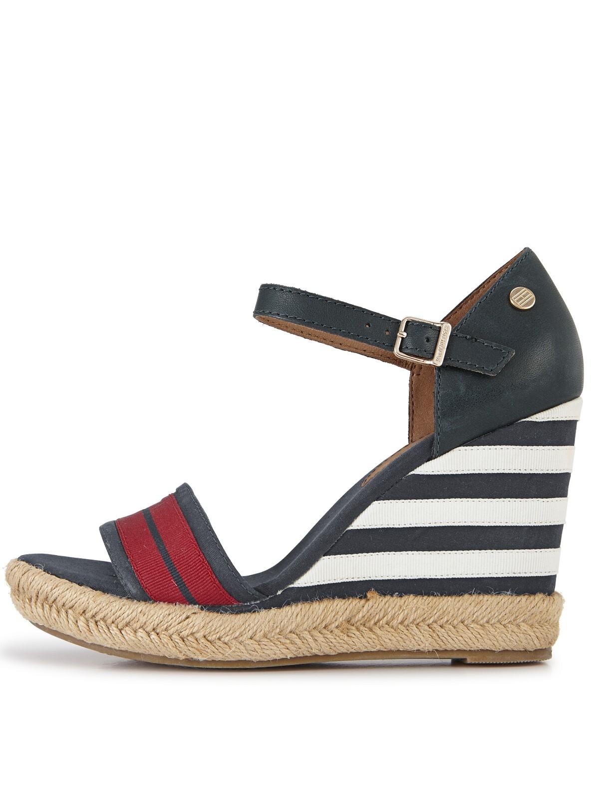 tommy hilfiger emery stripe wedge sandals in blue red white blue lyst. Black Bedroom Furniture Sets. Home Design Ideas