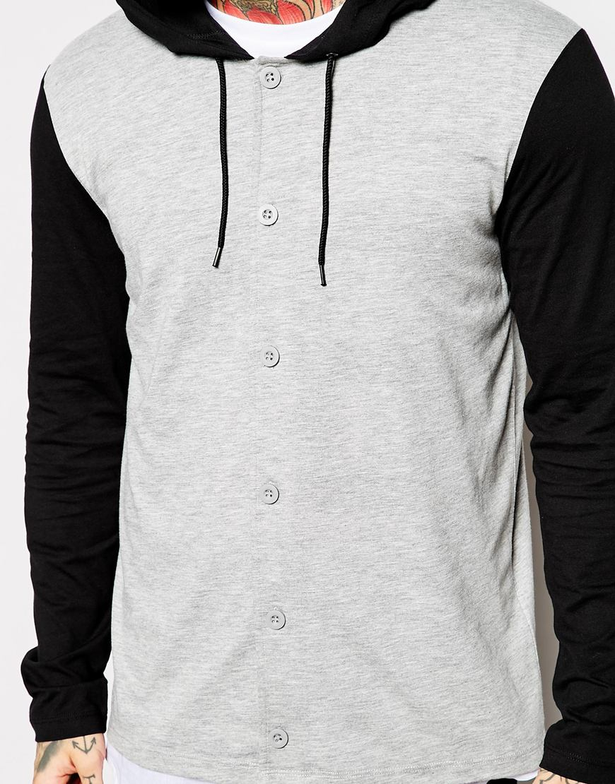 asos skater long sleeve t shirt with button up and hood in