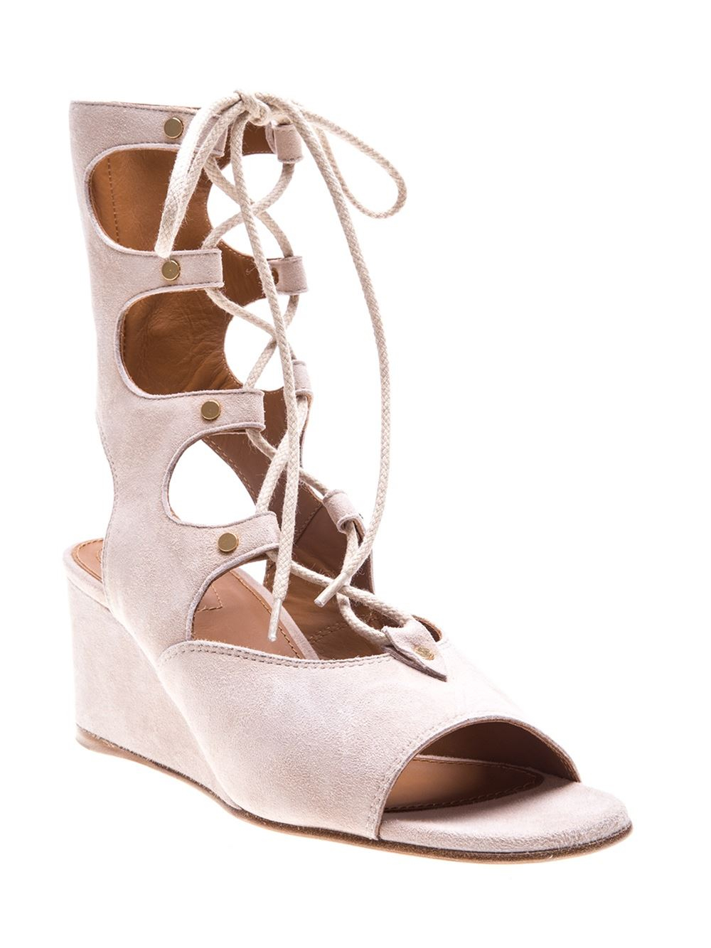 Chlo 233 Gladiator Lace Up Suede Wedge Sandals In Natural Lyst