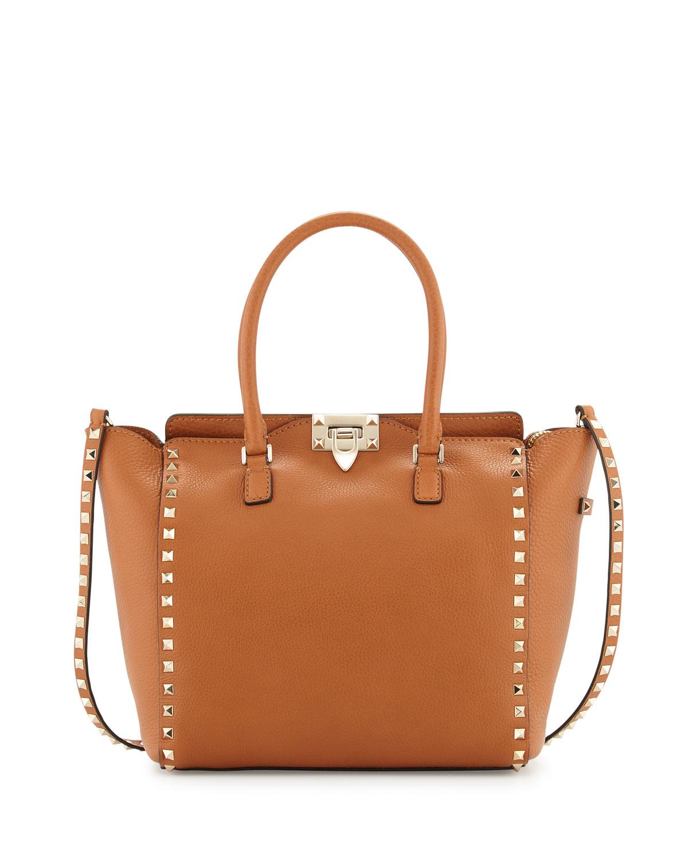lyst valentino rockstud medium leather tote bag in brown. Black Bedroom Furniture Sets. Home Design Ideas