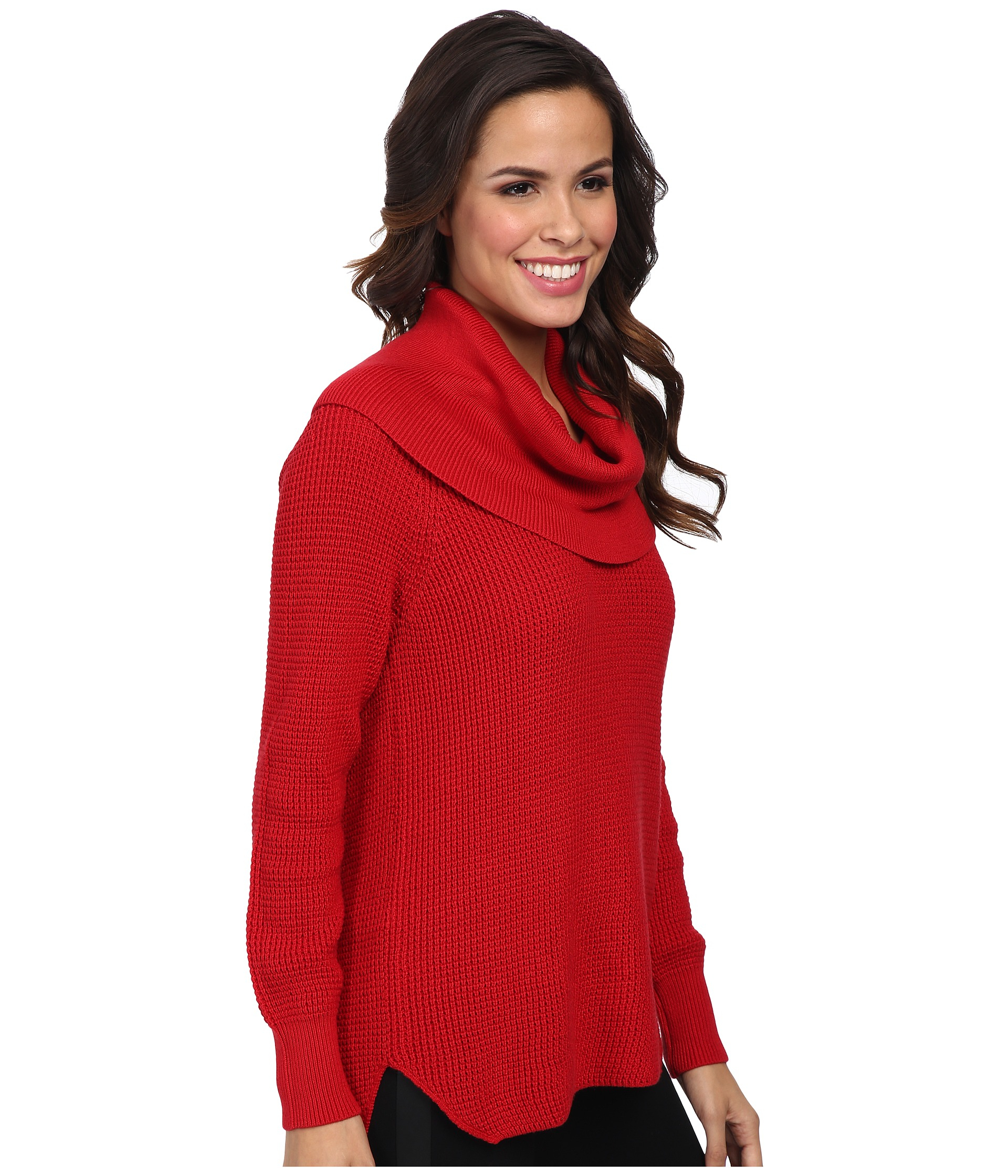Michael michael kors Cowl Neck Sweater in Red | Lyst