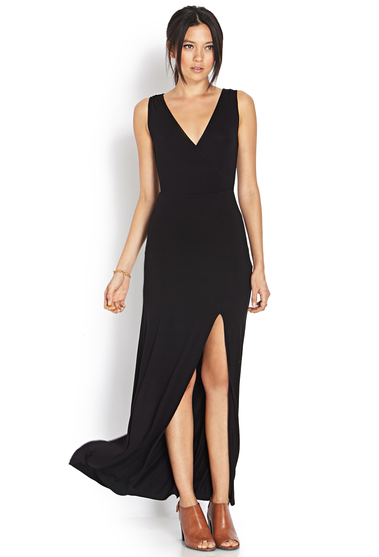Forever 21 Synthetic Sleek Surplice Slit Maxi Dress In