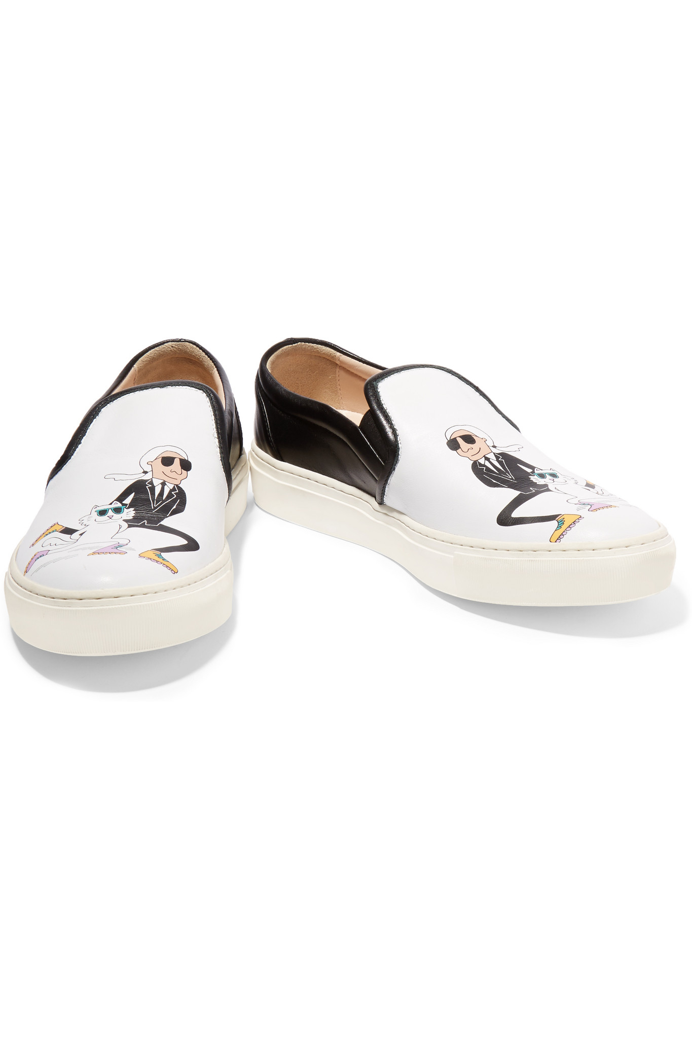 Karl Lagerfeld Printed Two-tone Leather Slip-on Sneakers in White