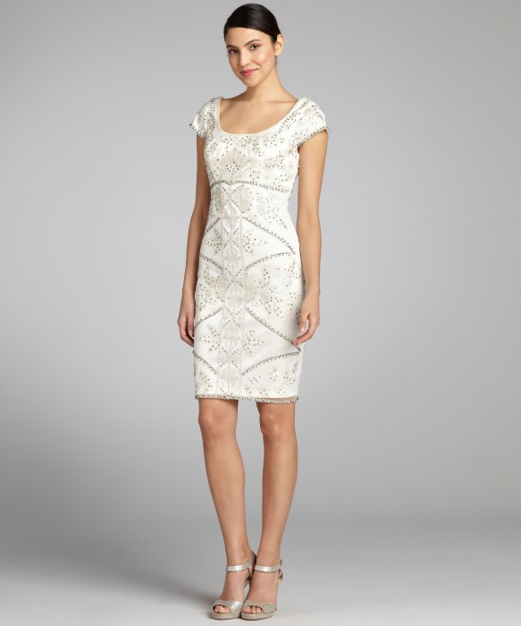 Sue wong Ivory Sequined Scoop Neck Cap Sleeve Dress in White - Lyst