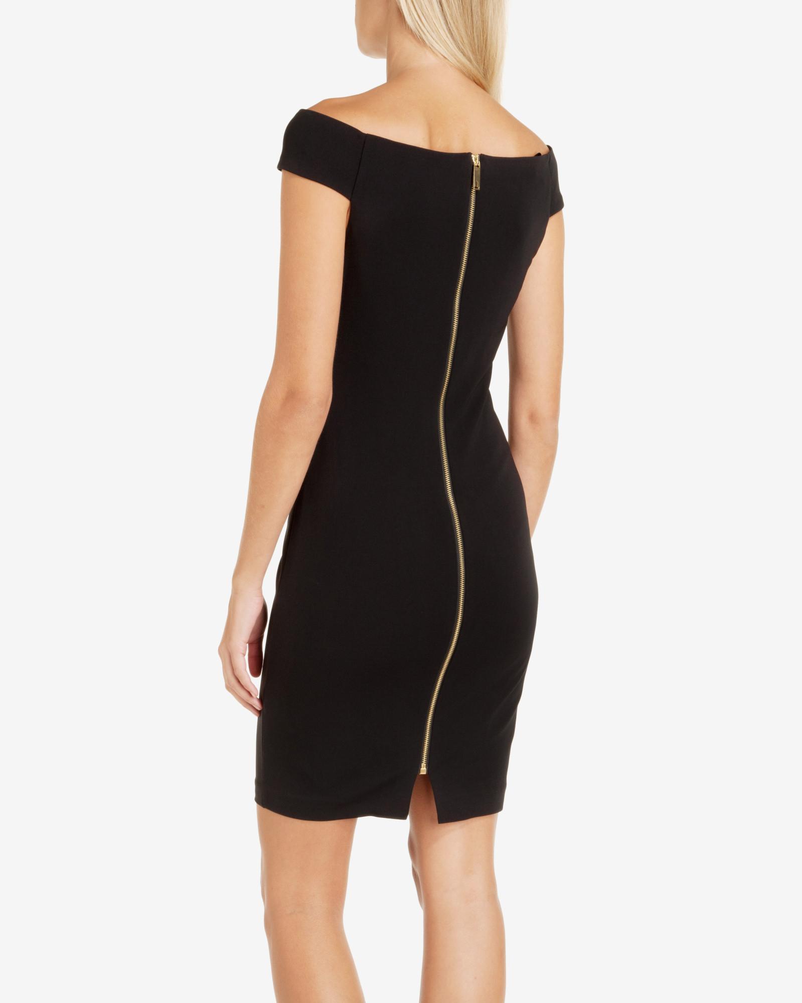 6117afc0043 Ted Baker Bardot Neckline Bodycon Dress in Black - Lyst