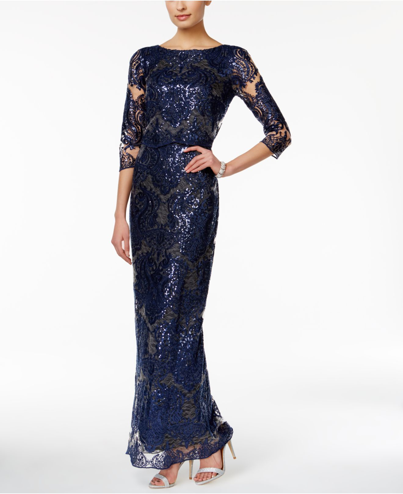 Lyst Tahari Sequin Lace Sheath Gown In Blue