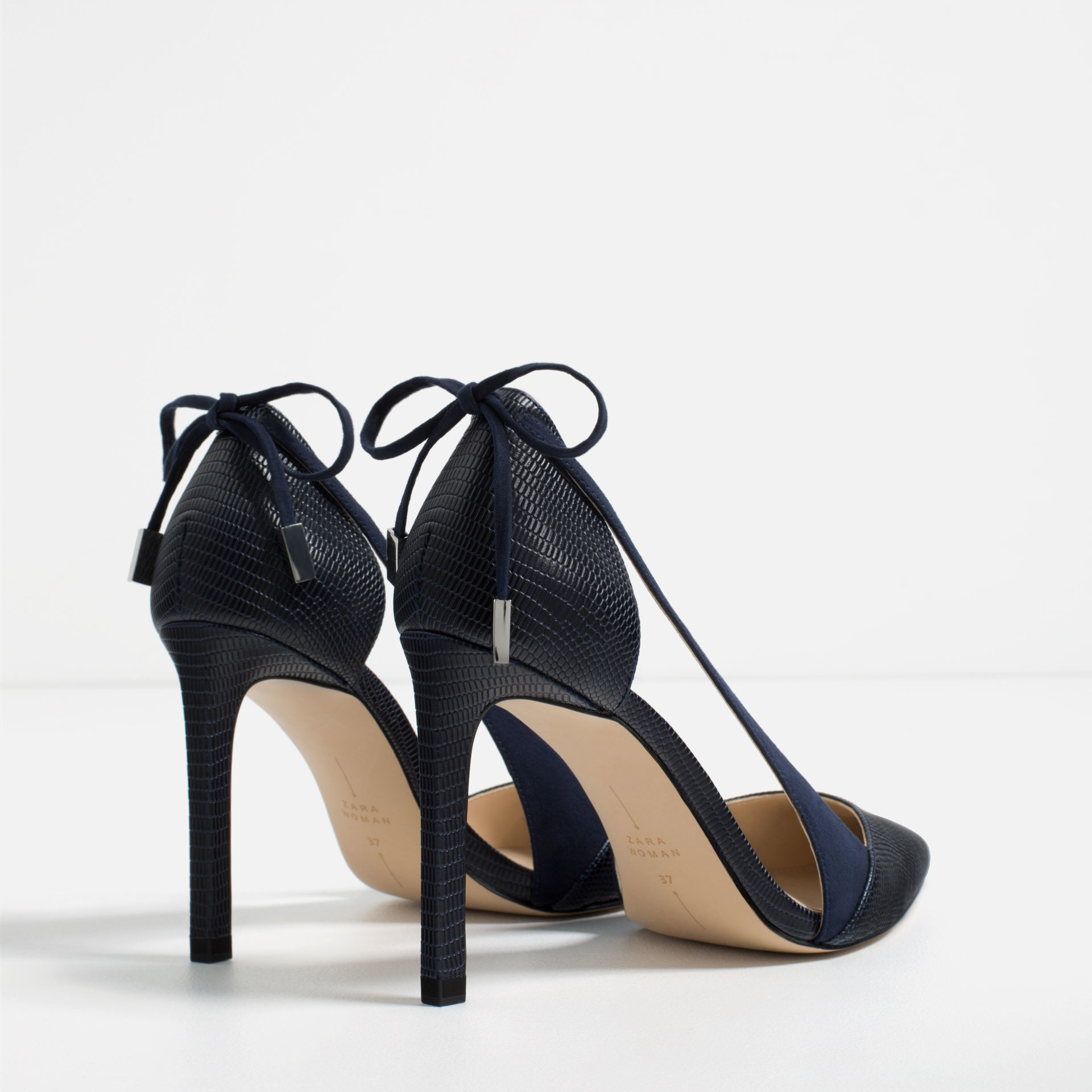 zara high heel shoes with bow in black lyst