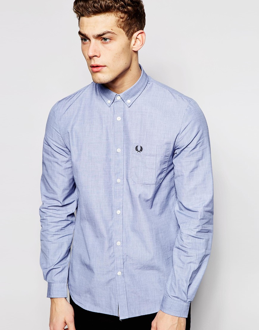Lyst - Fred Perry Shirt With Pocket in Blue for Men
