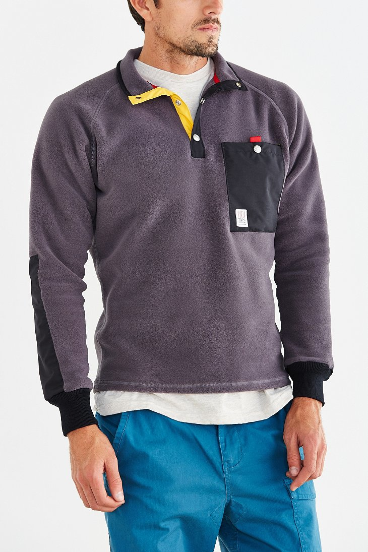 Topo designs Fleece Pullover Jacket in Gray for Men | Lyst