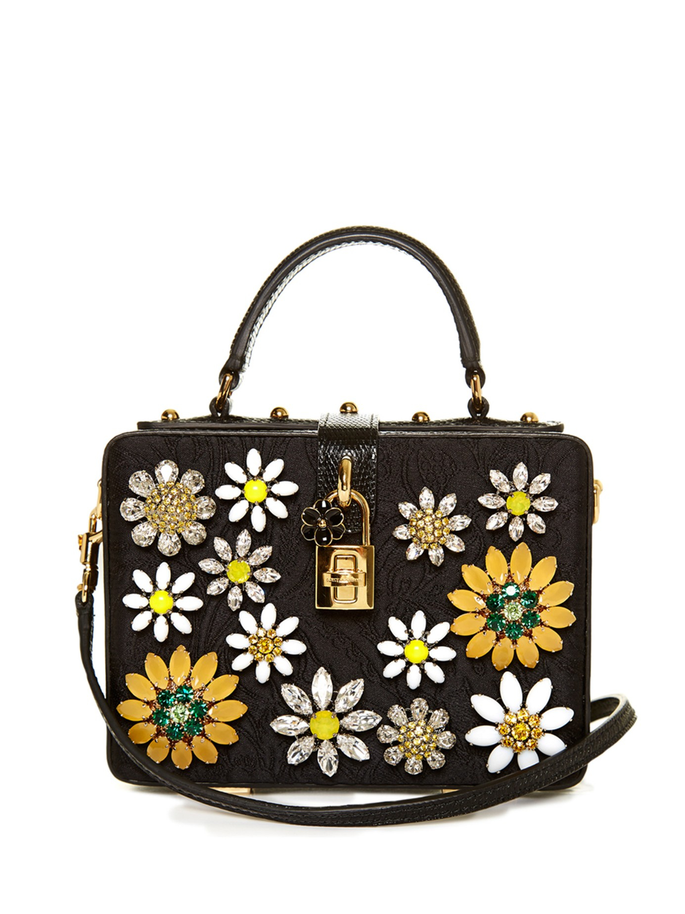 4fd4e4cb6ad8 Dolce   Gabbana Dolce Flower-embellished Brocade Box Bag in Black - Lyst