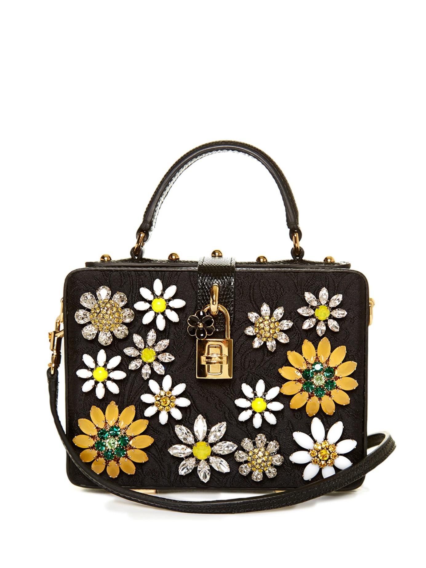 Lyst - Dolce   Gabbana Dolce Flower-embellished Brocade Box Bag in Black