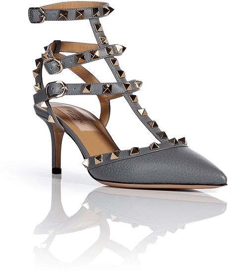 valentino leather rockstud kitten heels in gray lyst. Black Bedroom Furniture Sets. Home Design Ideas