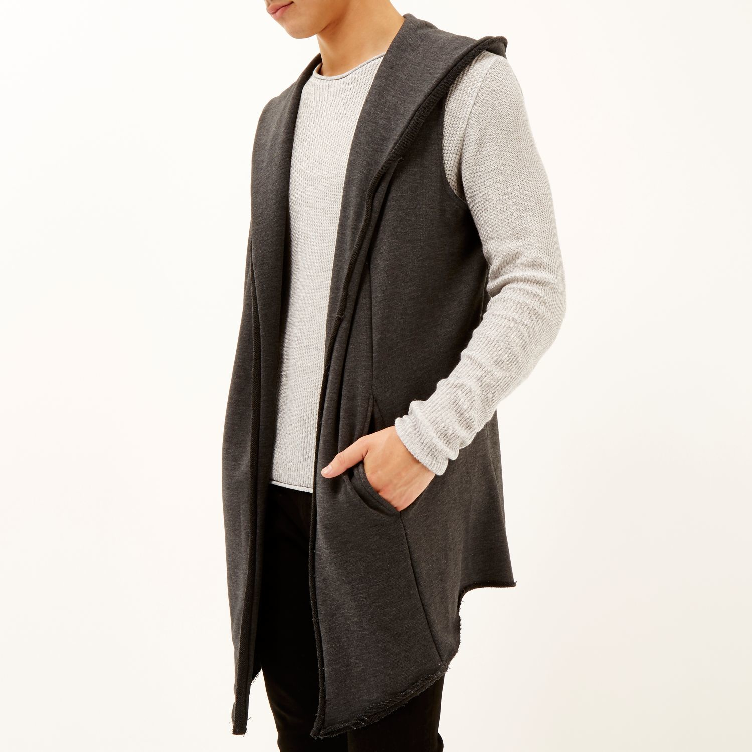 River island Dark Grey Knitted Sleeveless Hooded Cardigan in Gray ...