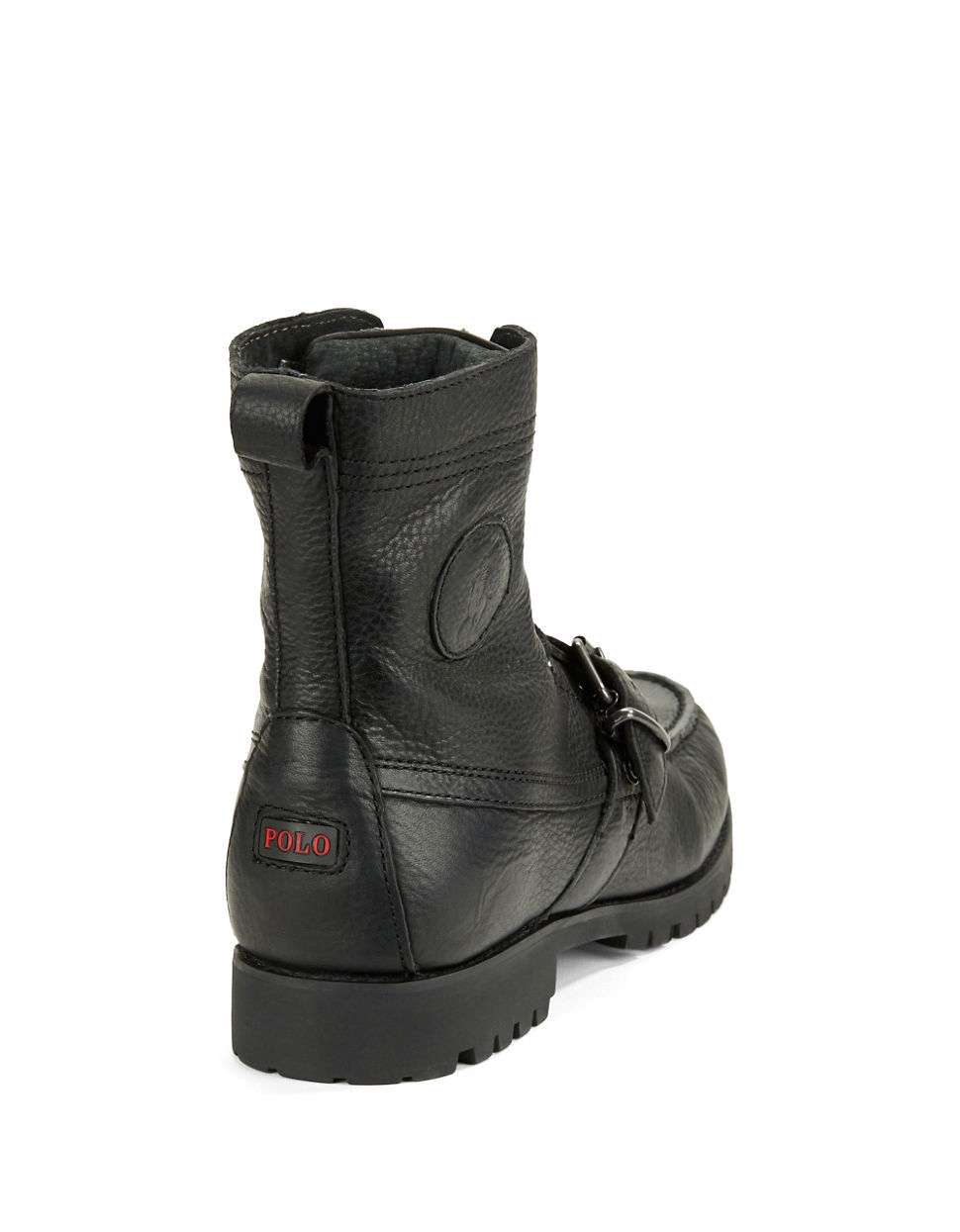 polo ralph ranger leather ankle boots in black for