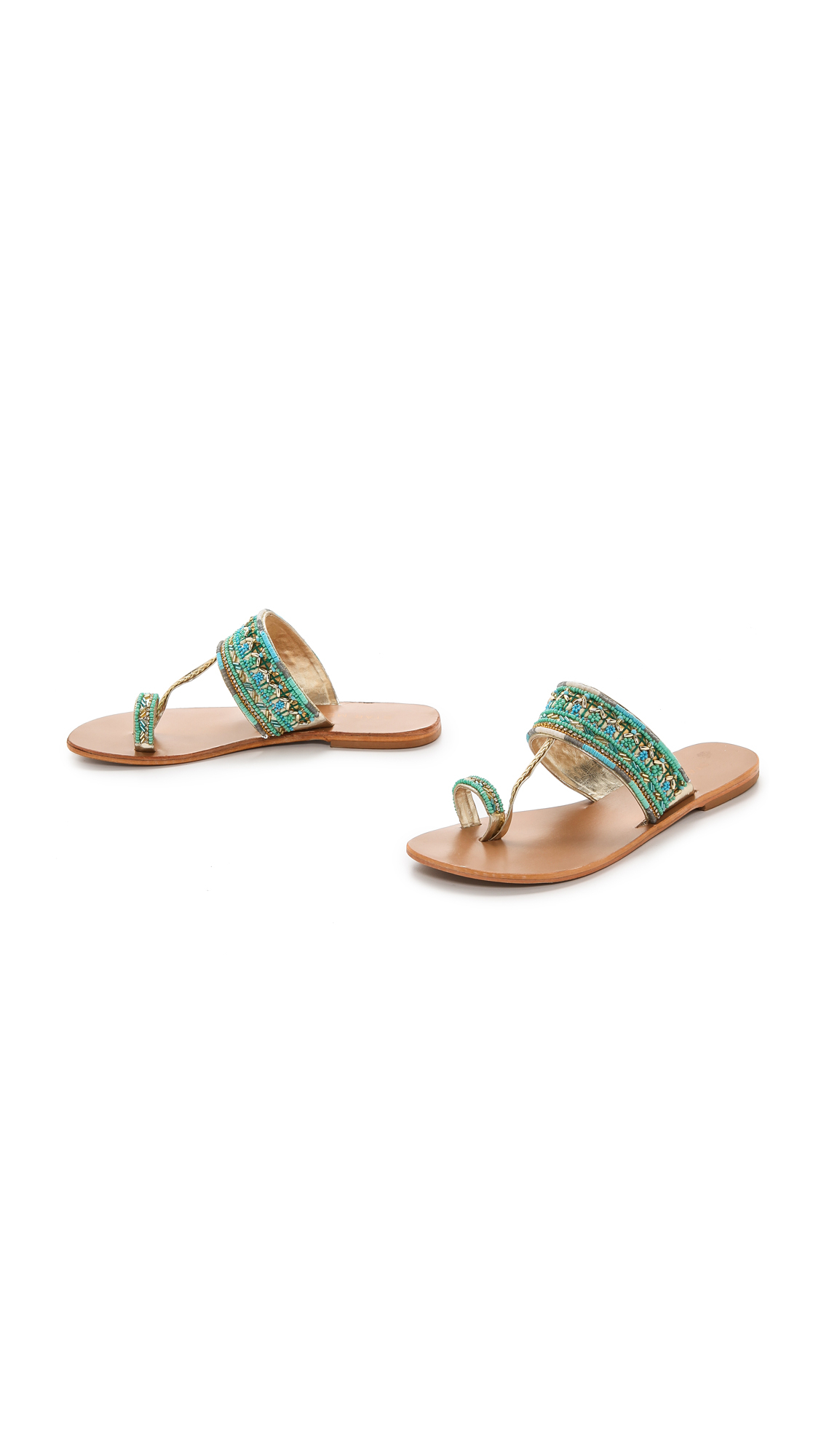 Star Mela Sabri Beaded Sandals - Turquoise In Blue - Lyst-5932