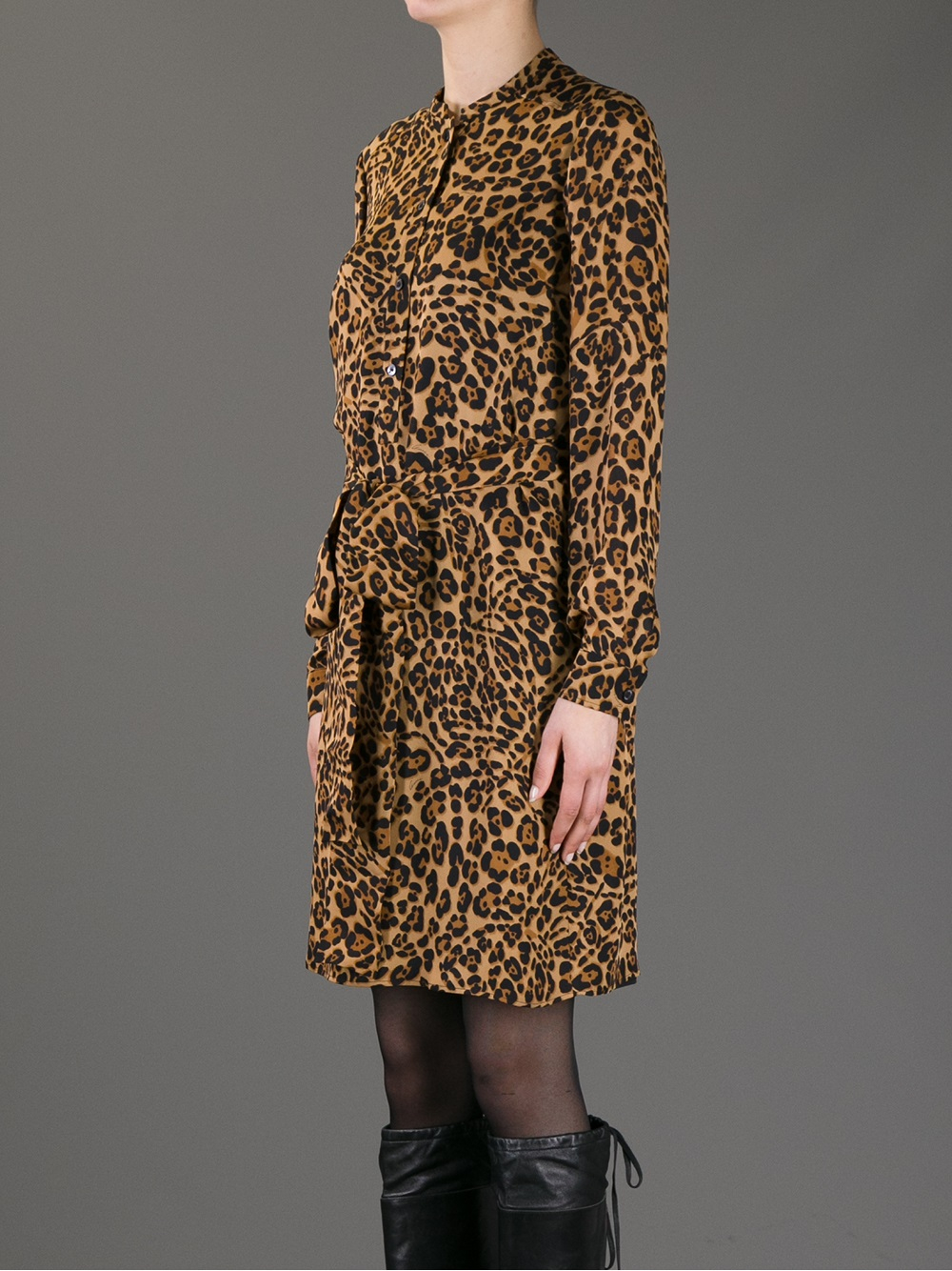 Gucci Leopard Print Blouse Dress In Brown Lyst