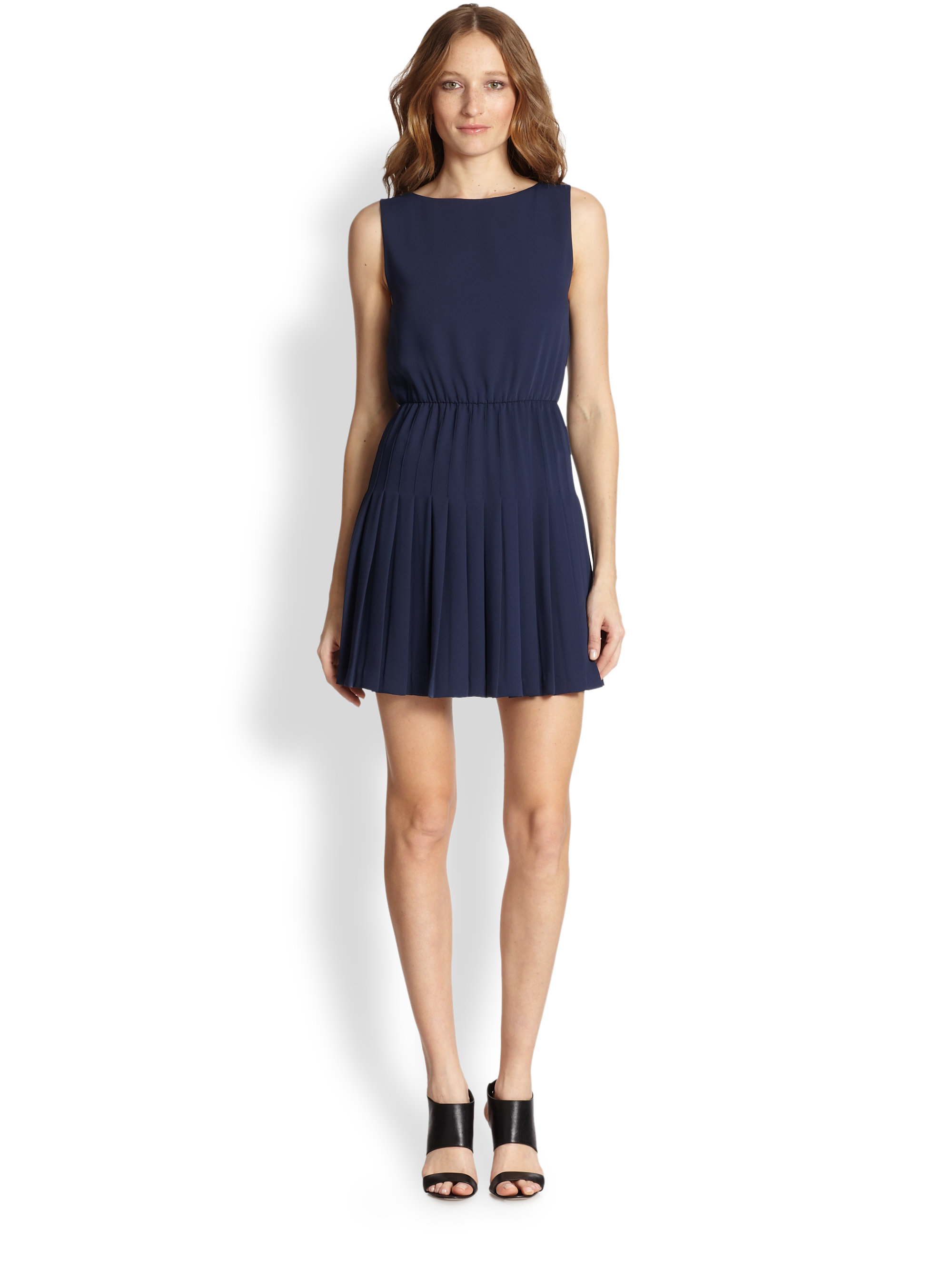 Alice   olivia Shanna Pleated Dress in Blue | Lyst
