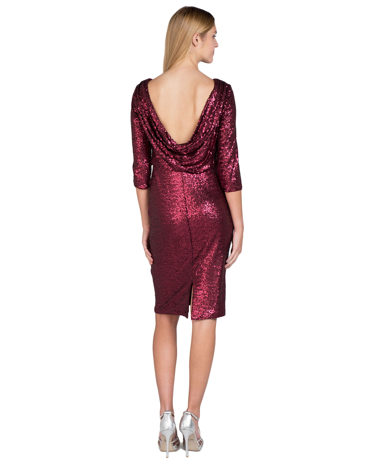 Badgley mischka Cowl-Back Cocktail Dress in Purple