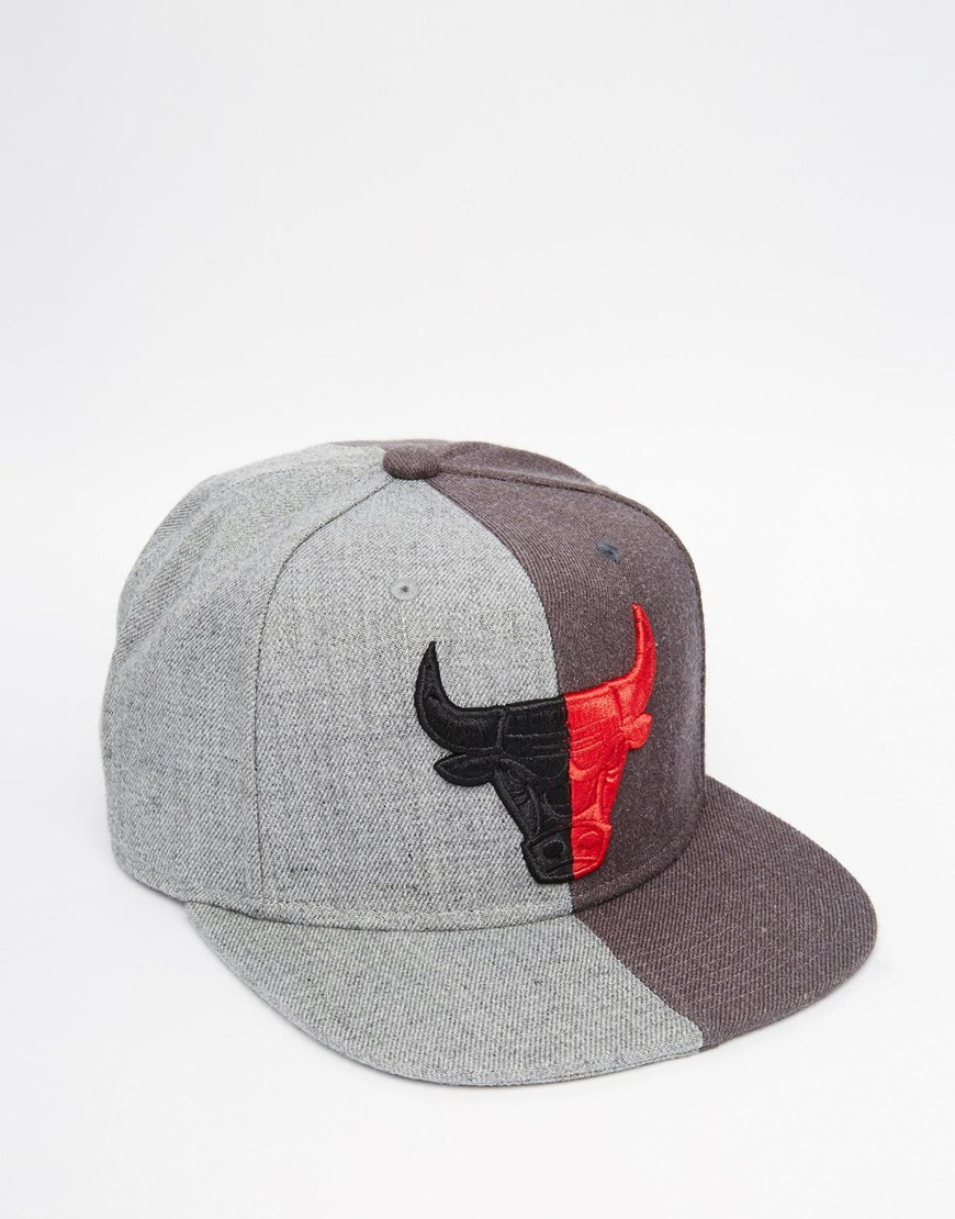 c58573cbf49 Mitchell   Ness Split Crown Chicago Bulls Snapback Cap in Gray for ...